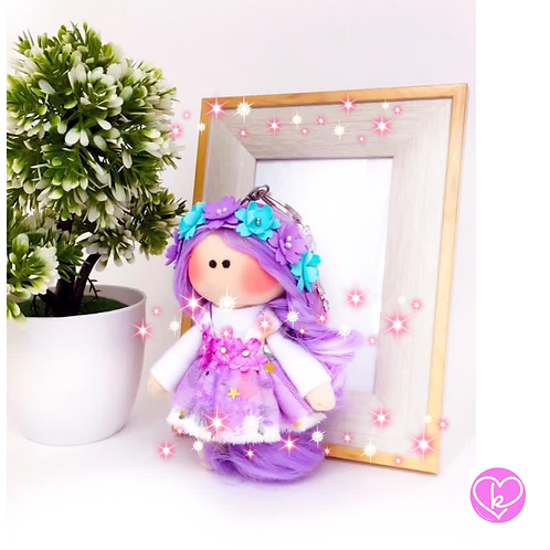 Little Miss Violet - Ready to go - Handmade Doll Keychain