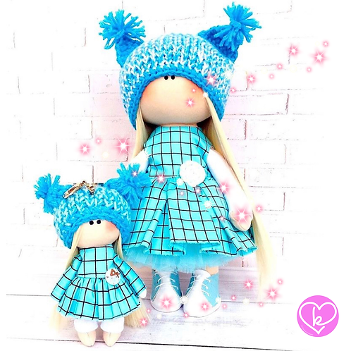 Diddy Blue Springtime - Made to Order - Handmade Doll Keychain