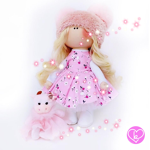 Beautiful Rose Bud - Made to Order - Handmade Doll