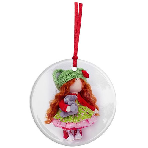 Little Miss Christmas - Round Shaped - Christmas Decoration