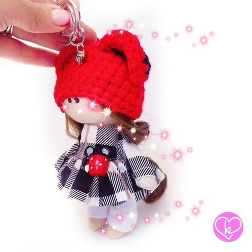 Little Miss Red - Made to Order - Handmade Doll Keychain