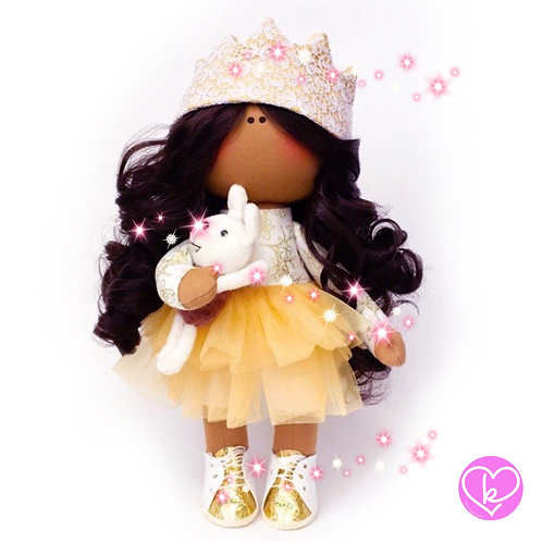Golden Crowns - Ready to go - Handmade Doll