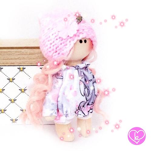 Little Miss Spring Angel - Ready to go - Handmade Doll Keychain