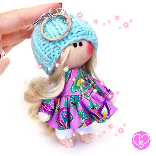 Lovely Lilly - Ready to go - Handmade Doll Keychain