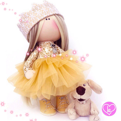 Golden crowns are my forever favourite - Made to Order - Handmade Doll