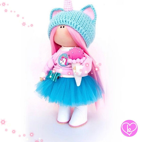 When Unicorns are my friend - Made to Order - Handmade Doll
