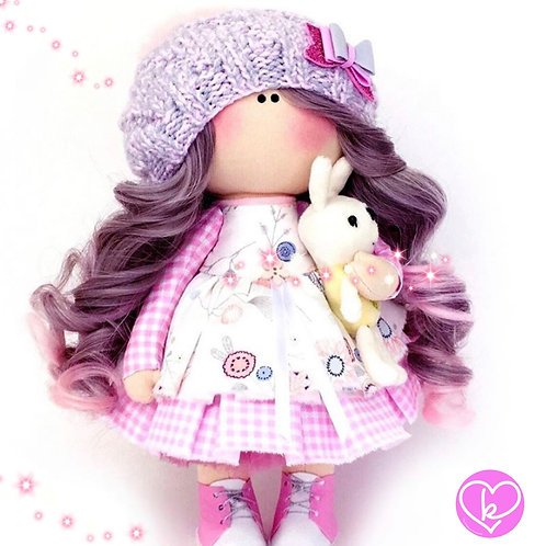 Purple and Pink Brightens up a cloudy day - Made to Order - Handmade Doll