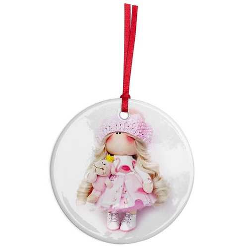Flamingo Girl - Round Shaped - Christmas Decoration