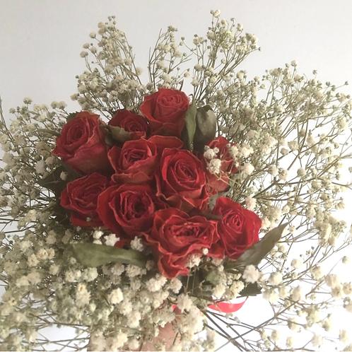 Dried Rosebud and Dried Gypsophilia Hand Tied Bouquet - Handmade
