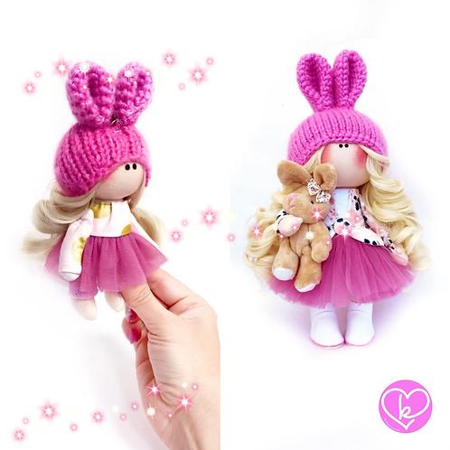 Springtime Bunny - Made to Order - Handmade Doll + Keychain Set