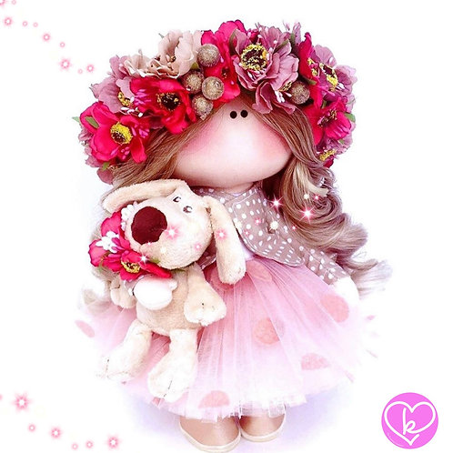 Floral Crowns and acorns, I smell Autumn - Made to Order - Handmade Doll