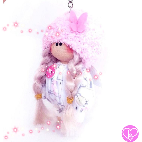 Little Miss Angel - Made to Order - Handmade Doll Keychain