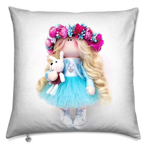 Aqua Flower Girl -  Scatter Cushion