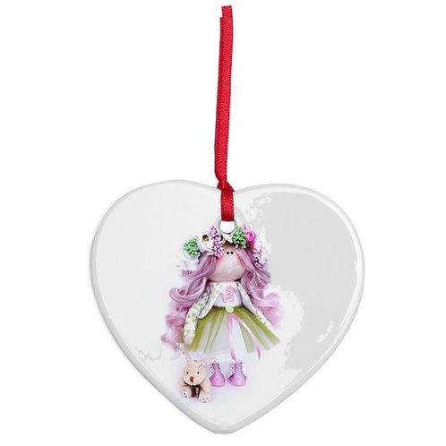 Springtime Girl - Heart Shaped - Christmas Decoration