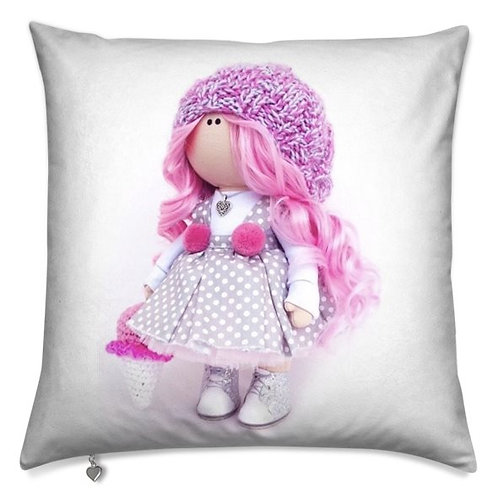 Ice-Cream Girl - Pink Hair -  Scatter Cushion