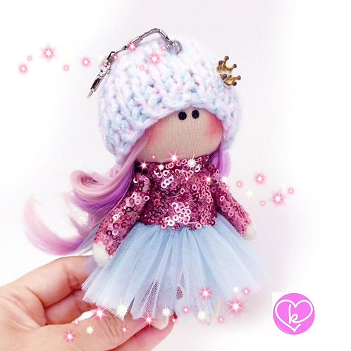 Sparkly Rainbow Princess - Made to Order - Handmade Doll Keychain