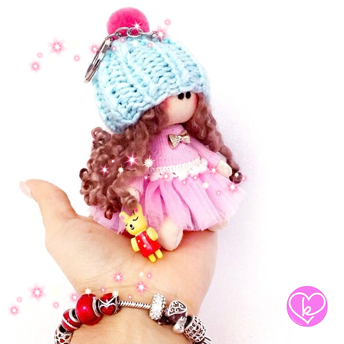 Little Miss Kind - Made to order - Handmade Doll Keychain