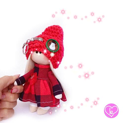 Little Miss Christmas - Ready to go - Handmade Doll Keychain
