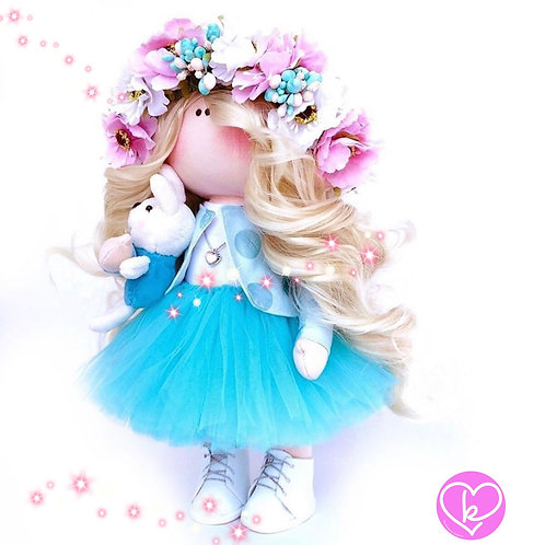 Aqua Flower Doll - Made to Order - Handmade Doll