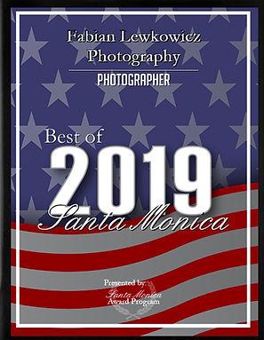 Best Santa Monica Photographer Award 2019 presented to Fabian Lewkowicz