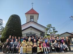 聖堂前での記念写真