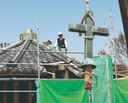 解体工事が進む石巻正教会旧会堂