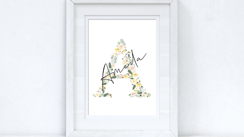 Personalised Spring Floral Initial & Name Spring Seasonal Wall Home Decor Print