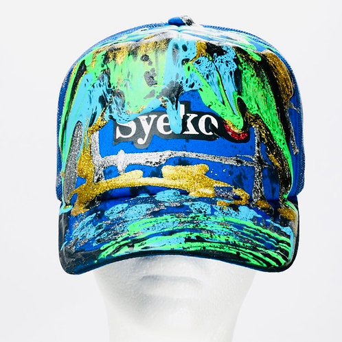 Syeko Drip Baseball Cap (Blue, Green & Gold)