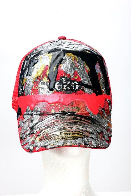 Syeko Drip Baseball Cap (Black & Red)