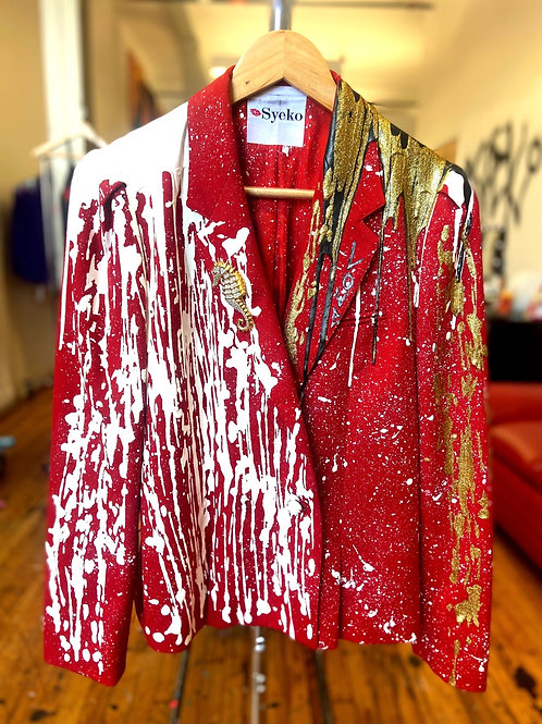 Red & White Syeko Blazer