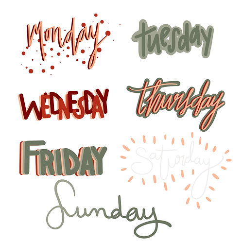 Days of The Week Digital Sticker Pack