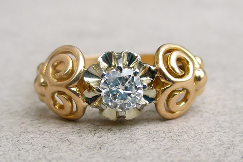 French 14k Yellow Gold & Diamond Ring