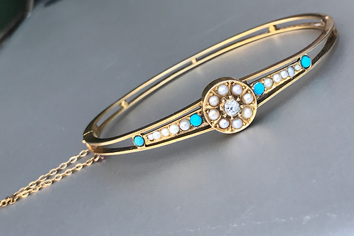 14k Victorian Diamond Pear Turquoise Bangle