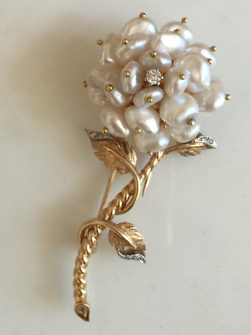 14k Gold Pearl & Diamond Floral Brooch Pin