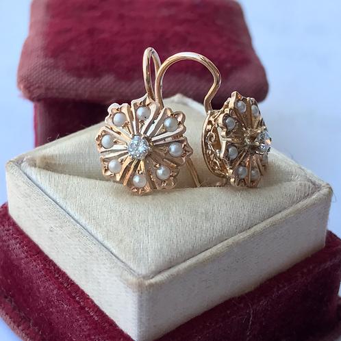 14k gold diamond & seed pearl earrings