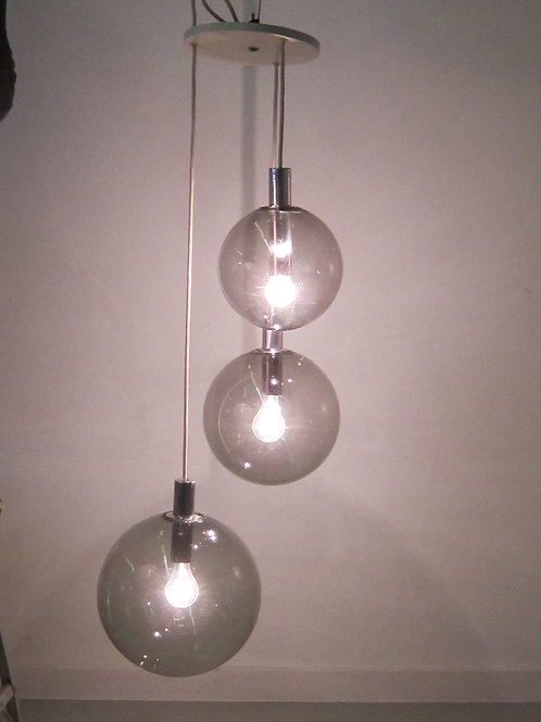 1960's Lightolier Three Light Globe Pendant