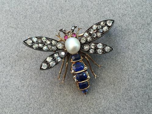 Victorian Diamond & Sapphire Insect Pendant Brooch