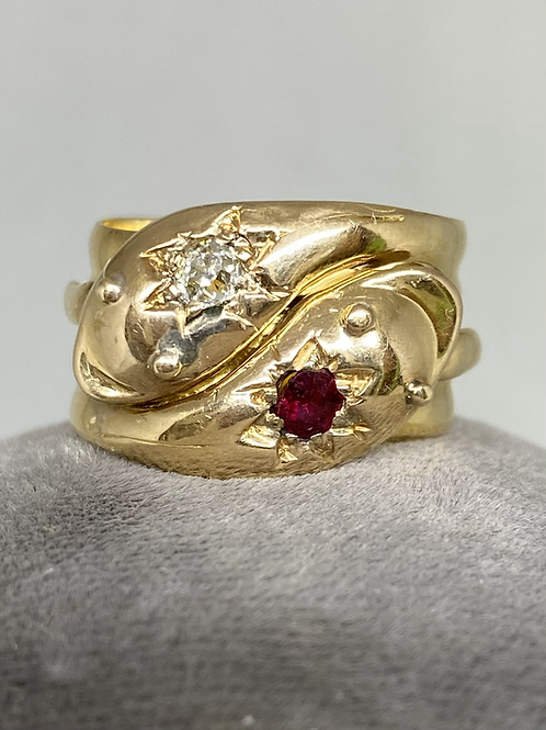 Late Victorian 18 kt Gold Double Snake #discovery_antiques_jewelry #antique