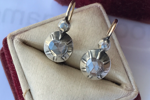 Antique silver & gold rose cut diamond earrings
