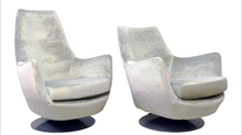 "Pair Milo Baughman ""His & Her"" Swivel Chairs Makeover."