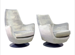 """Pair Milo Baughman """"His & Her"""" Swivel Chairs Makeover."""