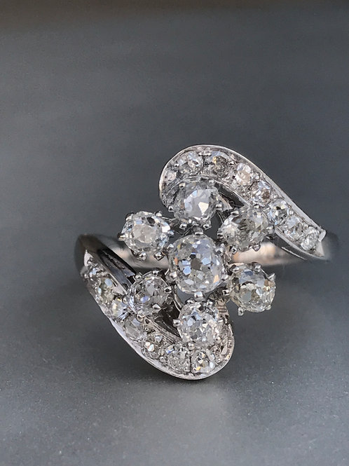 vintage old mine cut diamond & platinum ring