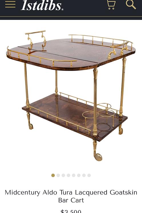 Aldo Tura Parchment Rolling Bar Cart