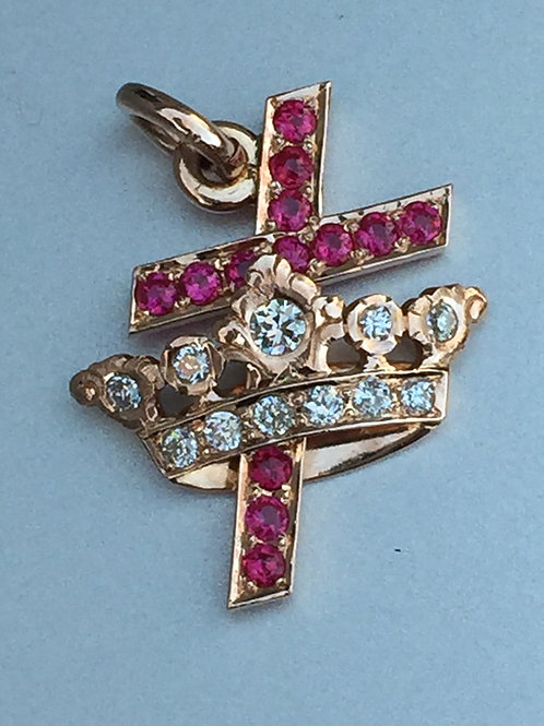 14k Rose Diamond & Ruby Cross & Crown Pendant