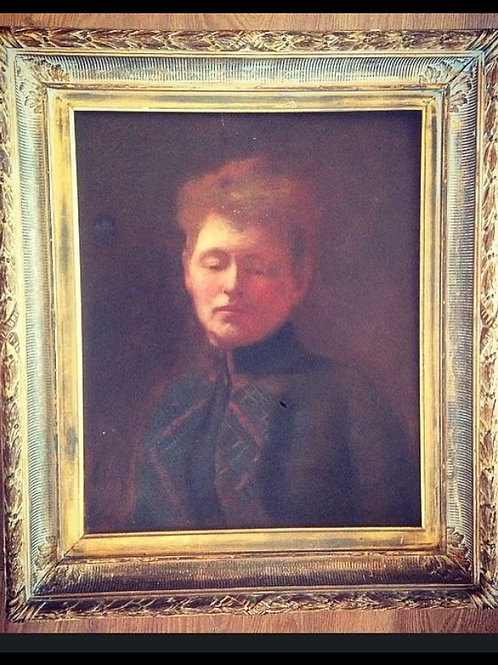 Early 20th C Edwardian Portrait Oil Painting