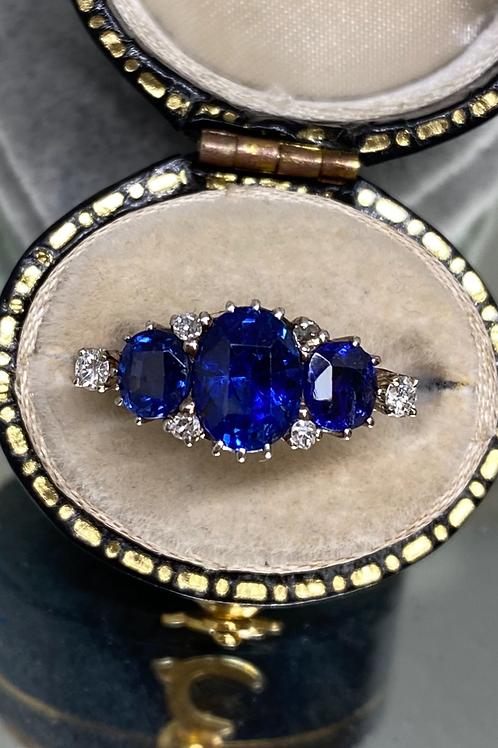 Antique Sapphire Diamond Trilogy Ring