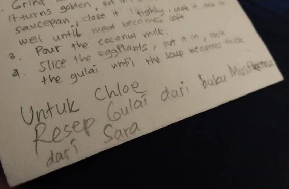 Recipe card written by the artist