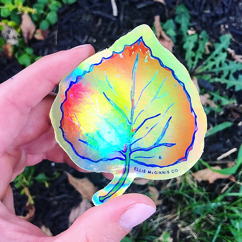 Holographic Yellow Leaf Vinyl Sticker