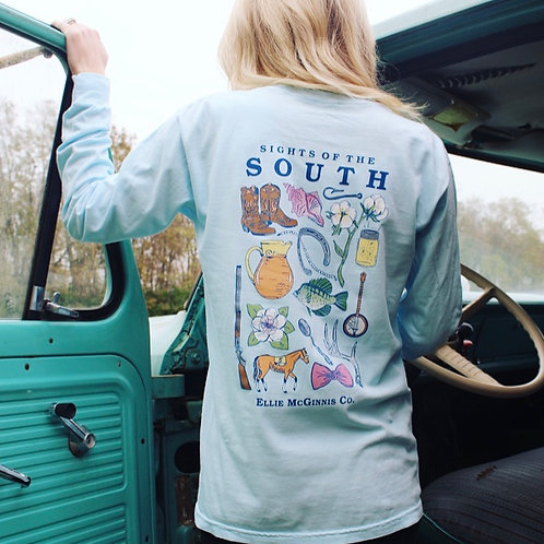 Sights of the South - Long Sleeve on Sky Blue