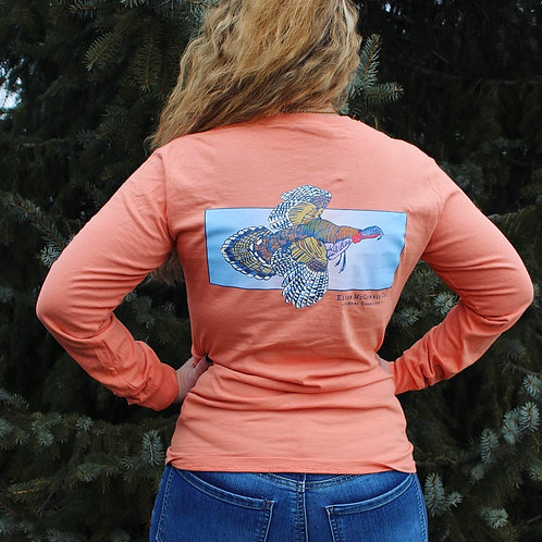 Turkey in Flight Long Sleeve on Terracotta